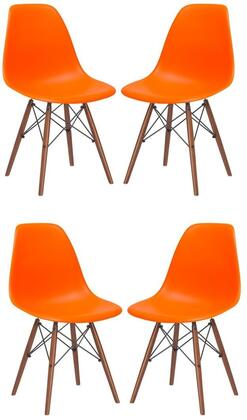 EdgeMod EM105WALORAX4 Vortex Series Modern Wood Frame Dining Room Chair
