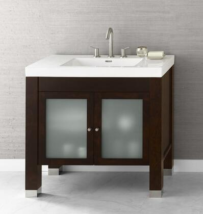 "Ronbow 032536-1-F Devon 36"" Wood Vanity Cabinet with Double Frosted Glass Door and Adjustable Shelf"