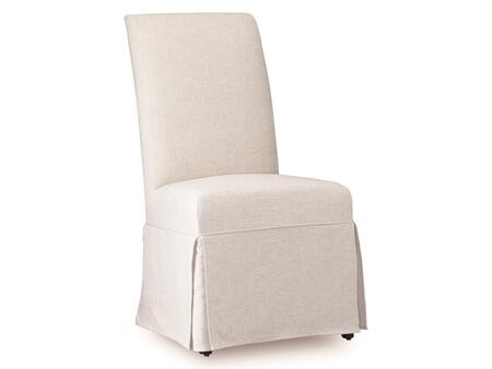 Clarice Skirted Chair in Jade White Fabric