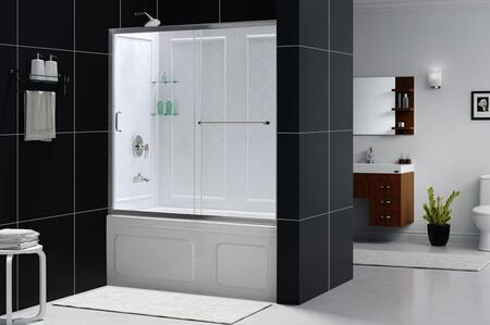 Picture of DL-6992-01CL Infinity-Z 56 to 60 Frameless Sliding Tub Door and QWALL-Tub Backwall