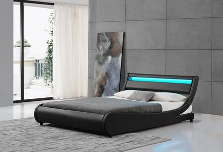 """Ladeso Edison Collection SF-810-X-B 91"""" Bed with LED Lights on Headboard, Low Profile, Panel Headboard and Leatherette Upholstery in Black"""