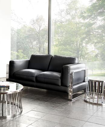 "Diamond Sofa Annika ANNIKALO 66"" Loveseat with Air Leather, Polished Stainless Steel Arm and Plush Back Pillows in"