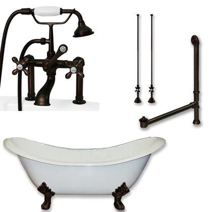 "Cambridge DES463D6PKGBN7DH Cast Iron Double Ended Slipper Tub 71"" x 30"" with 7"" Deck Mount Faucet Drillings and British Telephone Style Faucet Complete Plumbing Package with Six Deck Mount Risers"