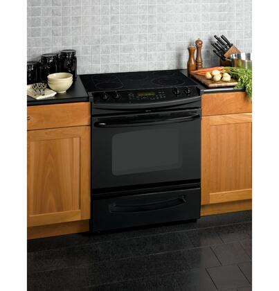 GE JSP46DPBB CleanDesign Series Slide-in Electric Range with Smoothtop Cooktop Storage 4.1 cu. ft. Primary Oven Capacity