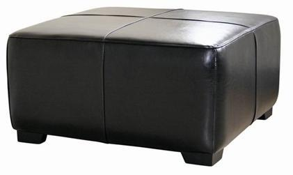 Wholesale Interiors Y052023BLACK Bree Series Contemporary Leather Ottoman