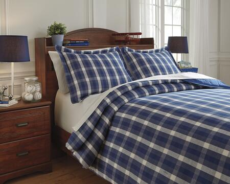Signature Design by Ashley Baret Q7430 2 PC Twin Size Duvet Cover Set includes 1 Duvet Cover and 1 Standard Sham with Plaid Design and Cotton Material in Color