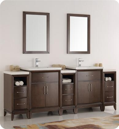 "Fresca Cambridge Collection FVN21-84 84"" Double Sink Traditional Bathroom Vanity with 2 Mirrors, 4 Soft Close Doors, Tapered Legs, Integrated Ceramic Sink & Countertop and 3 Side Cabinets in"