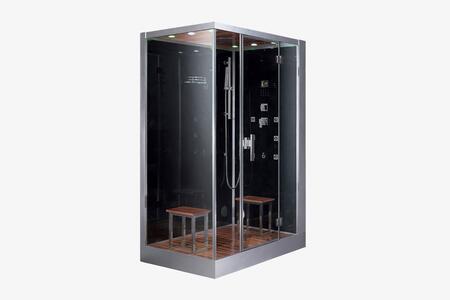 Ariel DZ961F8 Platinum Steam Shower With Acupuncture Massage, Hydro Massage Jets, Rainfall Ceiling Shower, Handheld Showerhead, Chromatherapy Lighting, FM Radio, Ventilation Fan & In Black