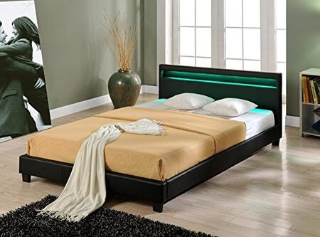 "Ladeso Bronx Collection SF-823-X-B 94"" Bed with LED Lights in Headboard, Low Profile and Leatherette Upholstery in Black"