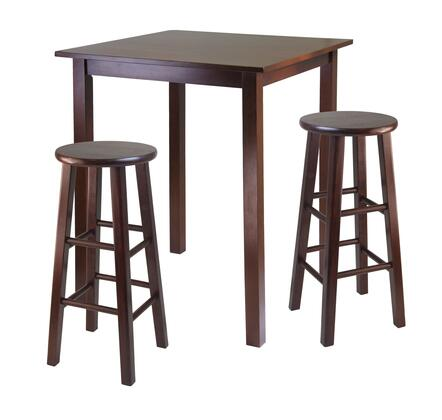 Winsome 94Parkl Parkland High Table with Stools, Walnut