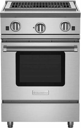 """BlueStar RNB24CBV RNB Series 24"""" Freestanding All Charbroiler Gas Range with Convection Oven, Ceramic Infra-Red Broiler,Interior Oven Light and Stainless Steel Drip Trays"""