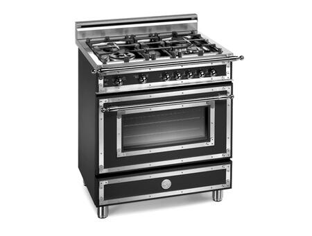 Bertazzoni H304GGVNE Heritage Series Natural Gas Freestanding Range with Sealed Burner Cooktop, 2.9 cu. ft. Primary Oven Capacity, Storage in Black