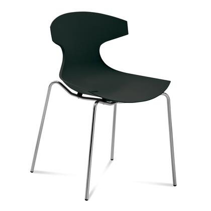 Domitalia ECHO.S.00F.AE-P Echo Stacking Chair with Enriched Fiberglass Polypropylene Shell and Lacquered Steel Frame in Satinated Aluminum