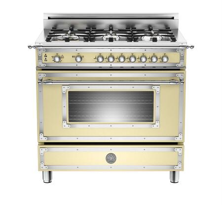 "Bertazzoni Heritage Series HER366GAS 36"" Natural Gas Range With 6 Brass Burners, 18,000 BTUs Dual Power Burner, Round Metal Knobs, 4.4 cu. ft. Gas Convection Oven, Telescopic Glide Shelves"