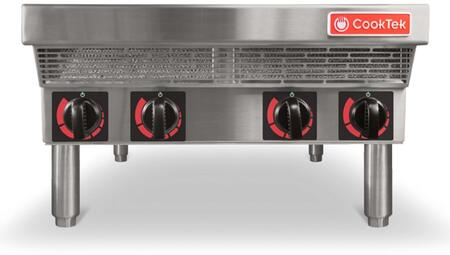 CookTek Four Burner(Hob) Commercial Induction Range with Red LED Bar-Graph Display For Power Level, Four Rotary Knobs For Easy Individual Burner Control and Multiple Power Settings