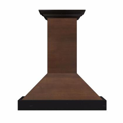 Z Line KBARxx Designer Series Wooden Wall Mount Chimney Style Range Hood with Crown Molding, Stainless Steel Baffle Filters, and 760 CFM Blower, in Solid Wood Exterior with Black Trim