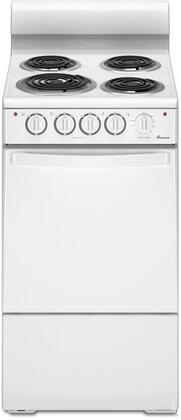 "Amana AEP200VAW 20"" Electric Freestanding Range with Coil Element Cooktop, 2.6 cu. ft. Primary Oven Capacity, in White"