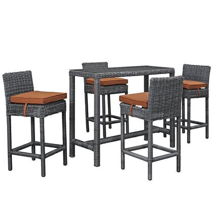Modway Summon Collection 5 PC Outdoor Patio Pub Set with Sunbrella  Fabric, Powder Coated Aluminum Frame, UV Resistant and Synthetic Rattan Weave Material in