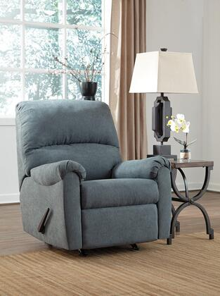 """Signature Design by Ashley Zeth Collection 2710x25 35"""" Rocker Recliner with Fabric Upholstery, Split Back Cushion, Plush Padded Arms and Contemporary Style in"""