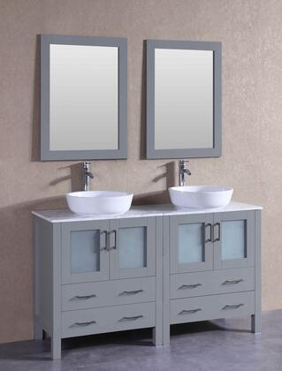 "Bosconi AGR230BWLCMX XX"" Double Vanity with Carrara Mable Top, Oval White Ceramic Vessel Sink, F-S02 Faucet, Mirror, 4 Doors and X Drawers in Grey"
