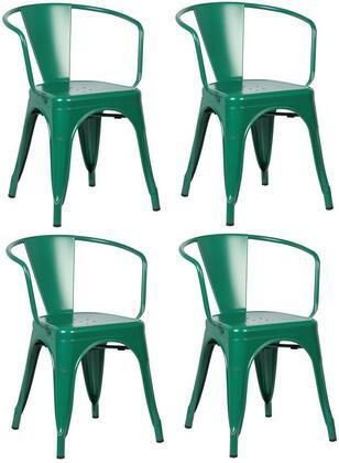 EdgeMod EM113DGRNX4 Trattoria Series Modern Metal Frame Dining Room Chair