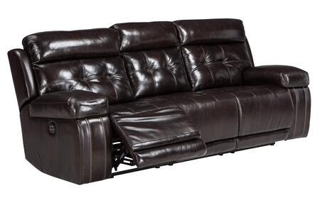 """Signature Design by Ashley Graford 647015 88.6"""" Power Reclining Sofa with Adjustable Headrest, Tufted Detailing, Jumbo Stitching and Leather Upholstery in"""