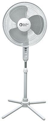 Comfort Zone CZST161BT 16-inch Oscillating Pedestal Fan with 3 Speed Push Button Control, Adjustable Height, 75-degree Oscillation