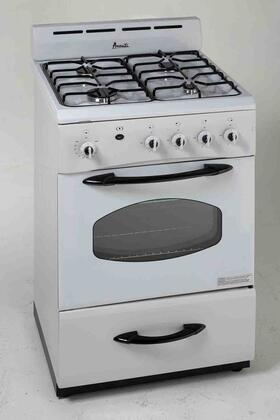 "Avanti G2404CW 24"" Gas Freestanding Range with Sealed Burner Cooktop, Storage in White"