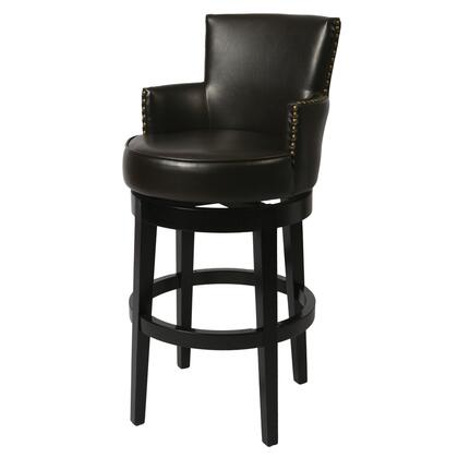 Pastel Furniture QLZA227 Zadar Bar Height Swivel Barstool With Arms in Brown