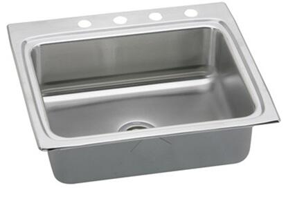 "Elkay LRAD252265 Gourmet Lustertone Stainless Steel 25"" x 22'' Self Rimming Single Basin Kitchen Sink:"