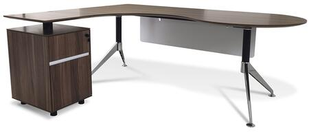 Unique Furniture 382WAL Modern L-Shape Office Desk
