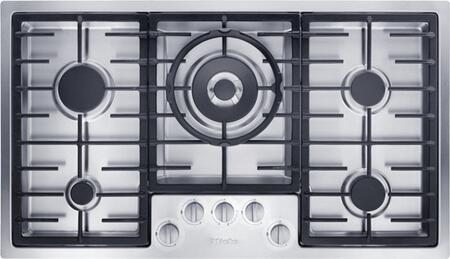"Miele KM2355 36"" Cooktop with 5 Sealed Burners, Linear Grates, Wok Burner, Power Burner, Fast Ignition System, Stainless Steel Knobs and 38,300 BTU Total Output: Stainless Steel"