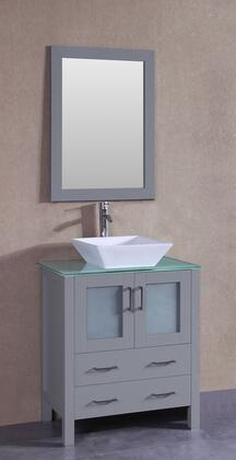 """Bosconi AGR130SQCWGX XX"""" Single Vanity with Clear Tempered Glass Top, Flared Square White Ceramic Vessel Sink, F-S02 Faucet, Mirror, 2 Doors and X Drawers in Grey"""