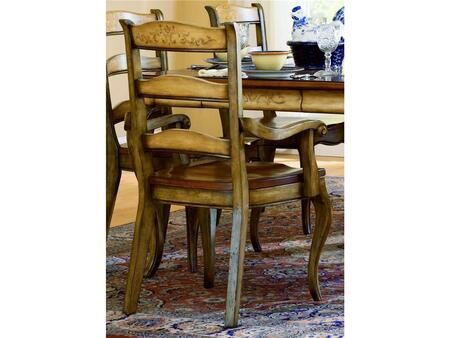 """Hooker Furniture Vineyard Series 478-75-3 40"""" Traditional-Style Dining Room Ladderback Chair with Cabriole Legs, Tapered Legs and Carved Detailing in Brown (Sold in 2 Chairs per Order/Priced Individually)"""