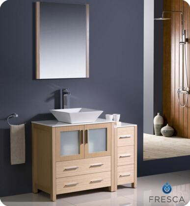 "Fresca Torino Collection FVN62-3012XX-VSL 42"" Modern Bathroom Vanity with Side Cabinet, Vessel Sink and Mirror in"