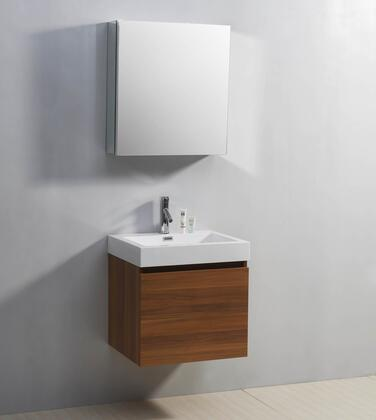 "Virtu USA JS-50324-XX Zuri 24"" Single Sink Bathroom Vaniety with Polymarble Top and Integrated Basin, 2 Drawers, PS-103 Faucet and in X Finish with 24"" x 19"" Mirrored Cabinet"