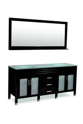 "Belmont Decor DM1D3-72 ""Dayton"" Double Sink Bathroom Vanity, Frosted Glass Doors, Wood Finish, Mirror Included:"