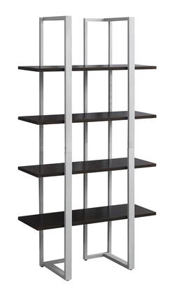 "Monarch I7260BKC2 60"" Bookcase with Fixed Shelves and Metal Frame in"