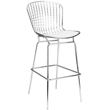 "EdgeMod Morph Collection 47"" Bar Stool with Mid Century Design, Solid Chrome Steel Frame, Plastic Non-Marking Feet and Leatherette Upholstery in"