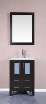 Bosconi Bosconi Vanity Set with Tempered Glass Top, White Rectangle Ceramic Integrated Sink , Faucet and Vertically Mounted Vanity Mirror in Espresso