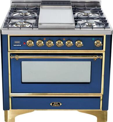 """Ilve UM906MPBL 36"""" Majestic Series Dual Fuel Freestanding Range with 6 Sealed Burner Cooktop Warming 2.8 cu. ft. Primary Oven Capacity  Appliances Connection"""