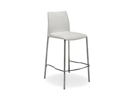 Casabianca Romi Collection Bar Stool by Talenti Casa with Foot Rest, Chrome Legs, Made in Italy and Leather Upholstery in White Color