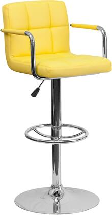 Flash Furniture CH102029GG Contemporary Quilted Vinyl Adjustable Height Bar Stool with Arms and Chrome Base