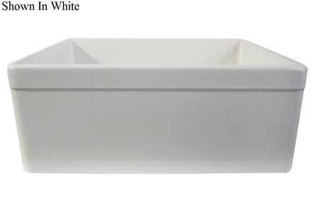 "Alfi AB506 26"" Decorative Lip Apron Single Bowl Farmhouse Kitchen Sink with Fireclay and 3 1/2"" Center Drain in"
