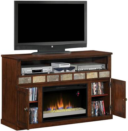 26mm1754 Margate Electric Fireplace Media Cabinet With Decorative Slate Accents Adjule Wood Shelves Integrated Wire Management And Open Center Shelf