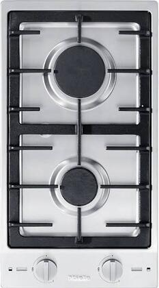 "Miele CS1012 12"" Double Cooktop with Stainless Steel Control Knob, Sealed Burners, Electric Spark Ignition and Cast Iron Grate, in Stainless Steel"