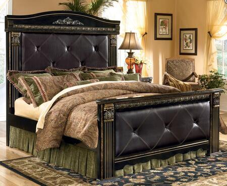Milo Italia BR-262BED Brandt Collection Size Upholstered Mansion Bed: Dark Brown