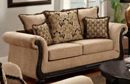 Chelsea Home Furniture 6000-LX Verona Lily Loveseat, with Kiln Dried Hardwood Frame, No Sag Springs, and Upholstered in Delray Taupe