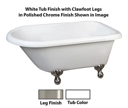 "Barclay ATR58 Amelia, 58"" Acrylic Roll Top Clawfoot Tub, White Finish, Overflow, Faucet Mount, Clawfoot Finish"