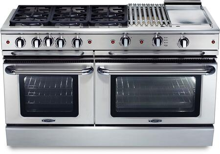 "Capital GSCR606BGN 60"" Precision Series Stainless Steel Gas Freestanding Range with Sealed Burner Cooktop, 4.6 cu. ft. Primary Oven Capacity,"